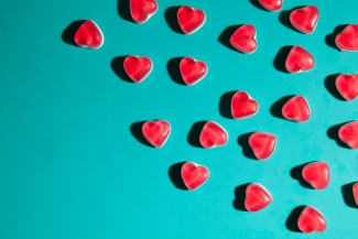 Heart sweets on a pop art background