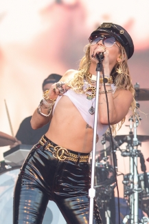 Miley Cyrus performs on the Pyramid Stage
